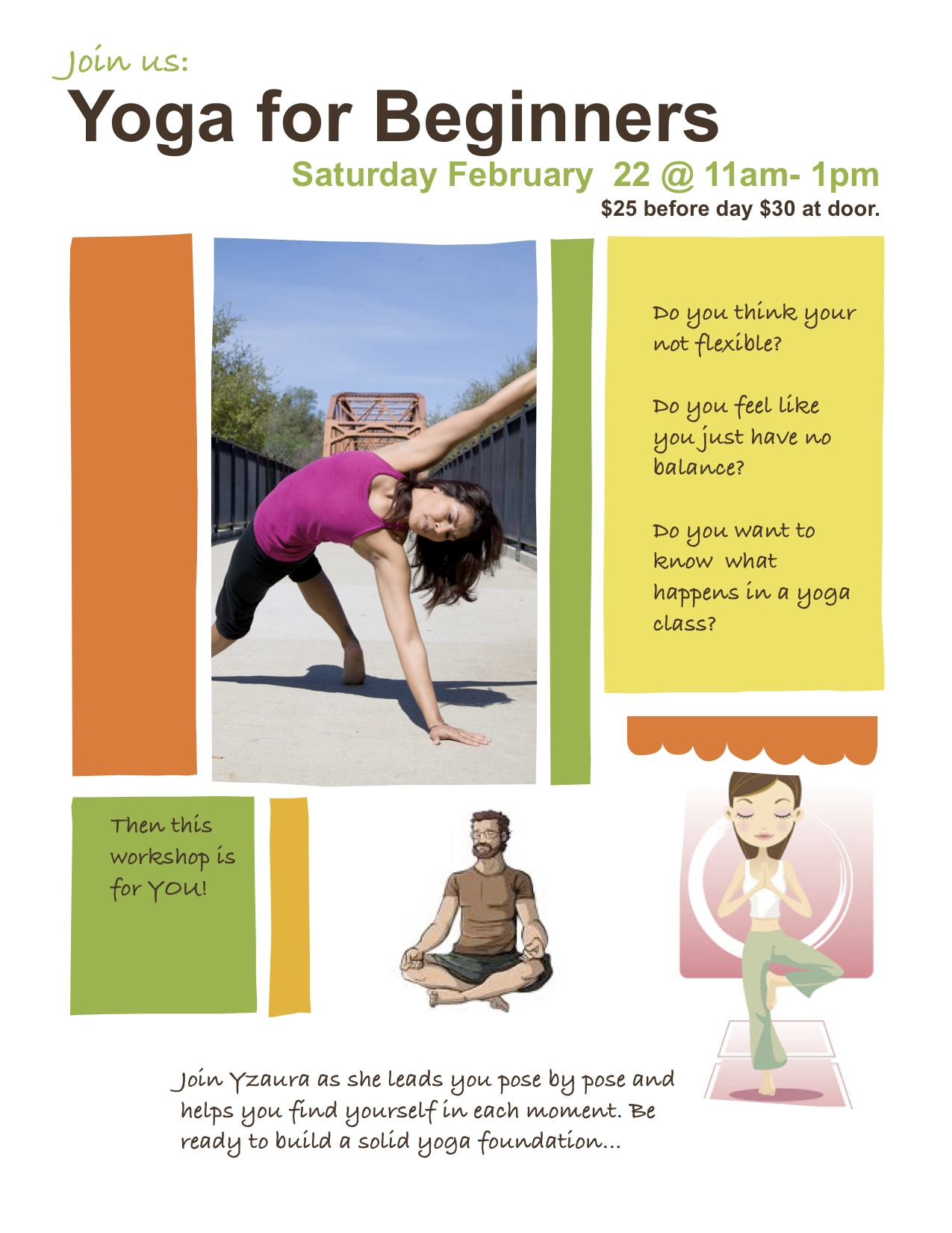 Yoga For Beginner Workshop Flyer